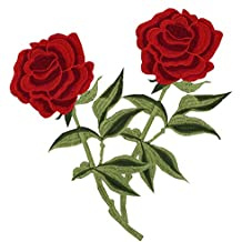 Megrocle Rose Flower Embroidered Iron-On Applique Patch, Embroidered Motif Applique Decoration Patches DIY Sew on Patch for Jeans, Clothing.Tattoo Biker Punk Embroidered Applique Sequins Badge ,2pc