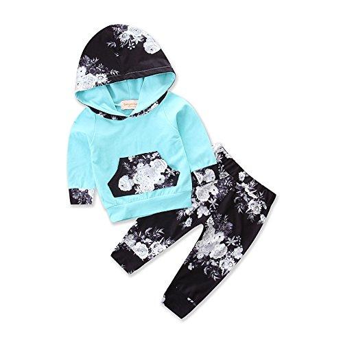 Toddler Girls Boys Clothes Unisex Cotton Floral Print Hoodie Pants 2pcs Sport Suit