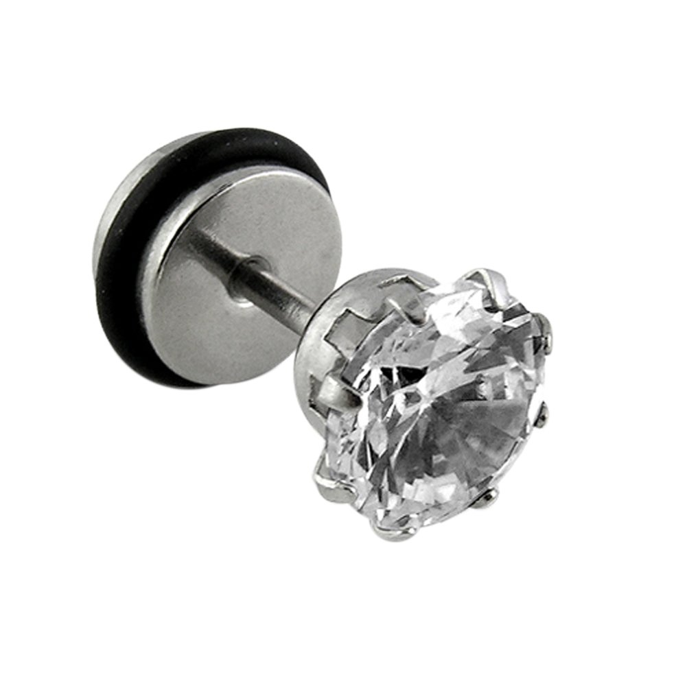Fake Ear Plugs 8MM CZ Stone Prong Set 316L Surgical Steel Disc with O Ring Body jewelry