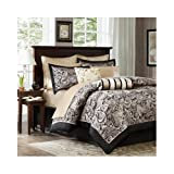 Modern Black Gold Paisley Bed in a Bag Bedding Set with Pillows (Cal King) Includes Scented Candle Tarts