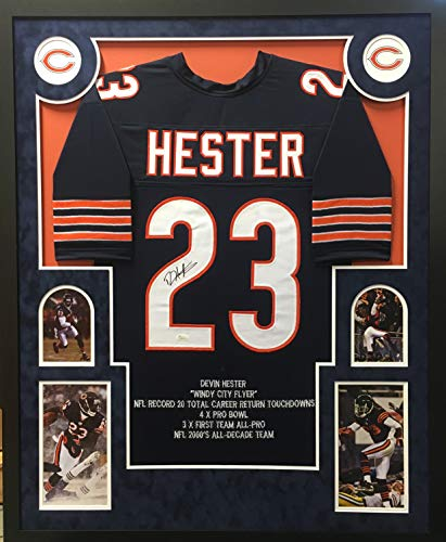 Devin Hester Chicago Bears Autograph Signed Custom Framed Jersey Embroidered Stats Suede Matted White 4 Pic JSA Witnessed ()