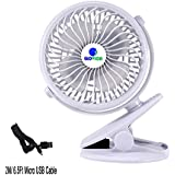 [Update Version with 6.5 Ft Micro USB Charging Cable] Glovion Baby Clip Stroller Fan - USB Rechargeable Portable Fan for Indoor and Outdoor-White