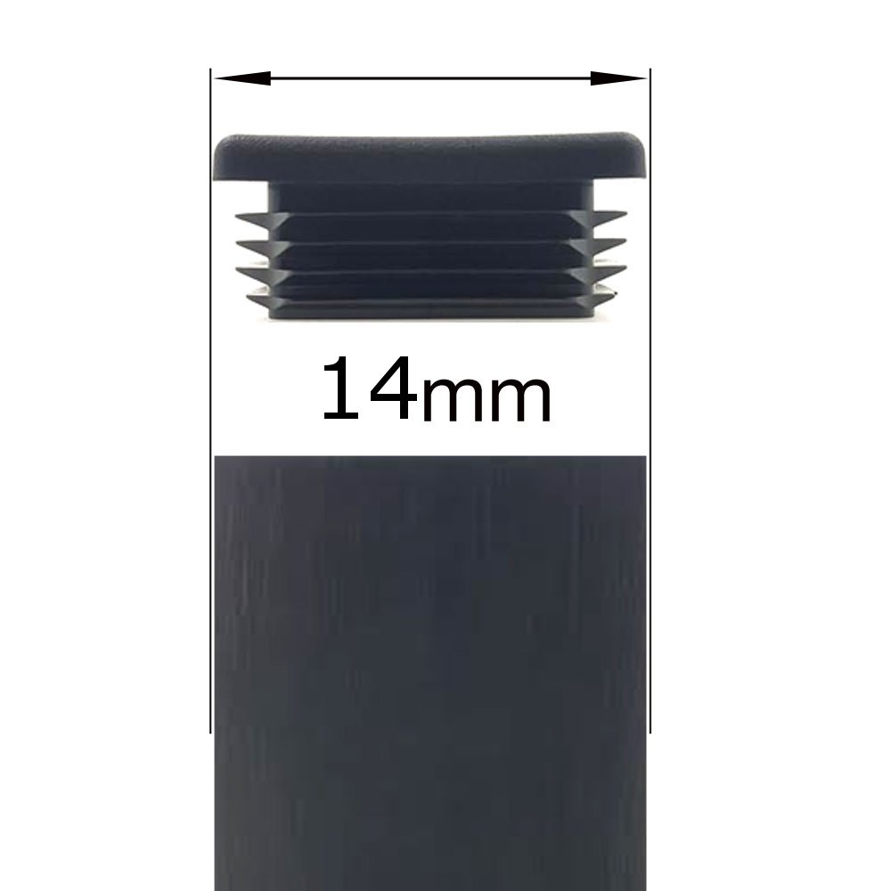 14mm SQUARE RIBBED BLACK PLASTIC INSERTS END CAPS STOPPERS FOR TUBULAR FURNITURE LEGS OR FEET BY LIFESWONDERFUL/® 10