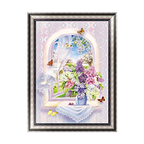 Chige DIY 5D Diamond Painting Kit, Cross Stitch Craft Kits Rhinestone Embroidery Wall Stickers Pasted Picture Drawing for Living Room Craft Home Wall Decor (Vase)