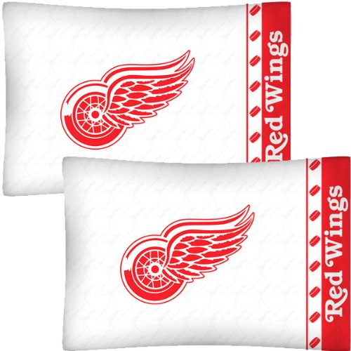 NHL Detroit Redwings Hockey Set of 2 Logo Pillow Cases ()
