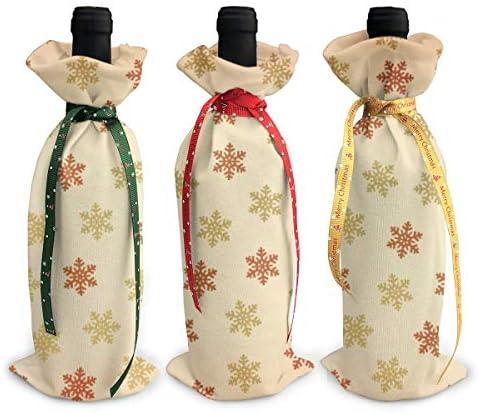 ワインバッグ クリスマスボトルカバー スノーフレーク シャンパンワインボトル3本用 12 X 34cm ワイン収納 3個ーテーマ ボトル装飾 ワインボトル用 かわいいドレス 3種類のデザイン ギフトバッグ 保管用 ギフトパッケージ