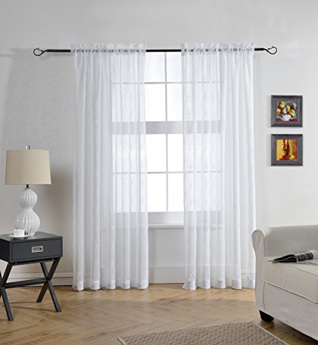 MYSKY HOME Rod Pocket Window Embroidery Voile Embroidered Sheer Curtain For Living Room White 52W X 84L 1 Panel
