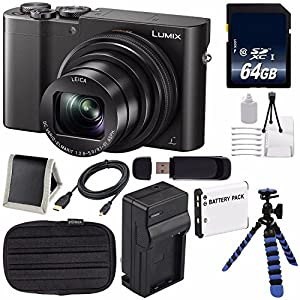 Panasonic LUMIX 4K DMC-ZS100 Digital Compact Camera (Black) + 64GB SDXC Class 10 Memory Card + Replacement Lithium Ion Battery + Charger + Micro HDMI Cable + Memory Card Wallet + Tripod Bundle