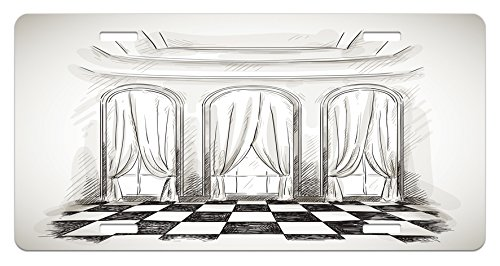 Antique License Plate by Ambesonne, Sketch Classic Parlor Ballroom Hall Castle Baroque Theatre Curtains Illustration, High Gloss Aluminum Novelty Plate, 5.88 L X 11.88 W Inches, Black White Baroque Castle