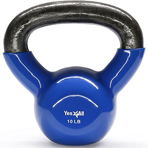 Yes4All Vinyl Coated Kettlebells Weight Available 5, 10, 15, 20, 25, 30, 35, 40, 45, 50 lbs