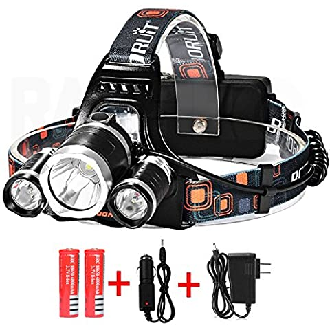 RamPro LED Headlamp Headlight Flashlight of 5000 Lumens with Rechargeable Batteries & DC Wall/Car Charger | Cree T6 Super Bright 4 Modes Waterproof Torch for Hiking Camping Riding Fishing & - Mens Sprint Walker