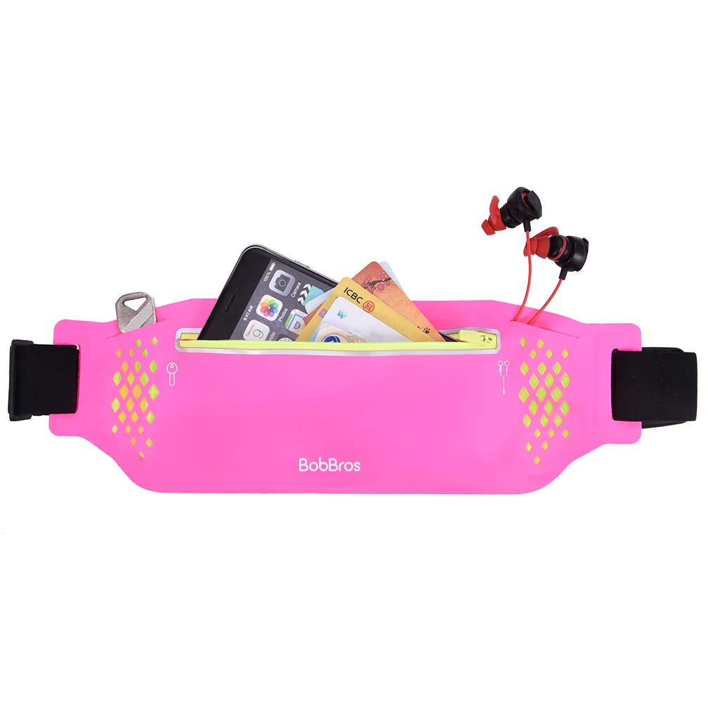BobBros Running Belt Waist Pack Fitness Waist Bag for Hiking, Water Resistant Runners, Adjustable Belt for iPhone Xs Max, XR and Any Large Smartphone, 3 Pockets w Reflective Zippers, Earphone Hole