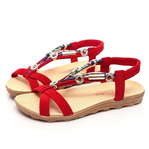 Janly® Summer Shoes, Women Sandals Ladies Bohemia Beach Gladiator Shoes Female Casual Flat Sandals Red