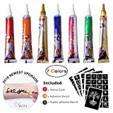 Henna Paste Cone - 7 Color Temporary Henna Tattoo Kits with 79 x Adhesive Stencil