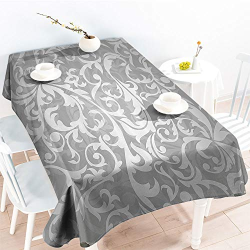 Jinguizi Decorative Fabric Table Cover Victorian Style Large Leaf Floral Pattern Swirl Classic Artsy Abstract French Vintage Printfor Party/Picnic TableclothGray(52 by 70 Inch Oblong -