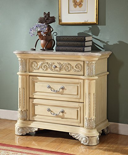Hand Carved Marble Top - Meridian Furniture Sienna-NS Sienna 3 Drawer Solid Wood Bedroom Nightstand with Detailed Hand Carved Designs and Genuine Marble Top, Rich Antique White Finish with Silver Accents