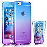 iPhone 6S Case, Jwest Perfect Slim Fit Ultra Thin Light Dirt/Dust Proof Colorful Soft TPU Gel Case 360 All-round Full Body Protective Back Cover Case for Apple iPhone 6 / 6S 4.7 inch,Blue/Purple