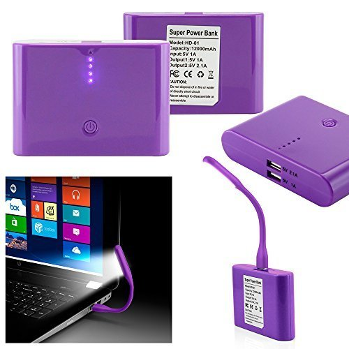 GEARONIC TM 12000mAh Universal Power Bank Backup External Battery Pack Portable USB Charger +Flexible USB Portable LED Light Mini Lamp- Purple