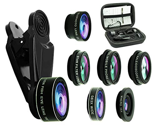(8 in 1 Phone Camera Lens Kit, 0.63Wide Angle Lens+15X Macro+198°Fisheye+2X Telephoto+Kaleidoscope+CPL/Starlight/Universal Clip, Zoom Compatible with iPhone Samsung Smartphones (Black))
