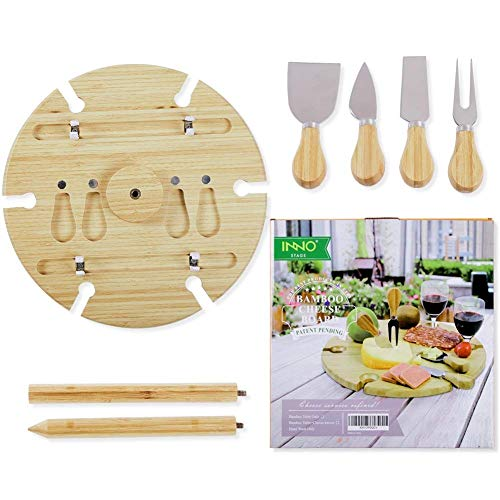 INNO STAGE Bamboo Wine and Snacks Table, Cheese Board/Platter with Cutlery Set for Picnic Outdoor and Indoor-6 Positions Holder for Glasses with Knives - Mother's Day Gifts