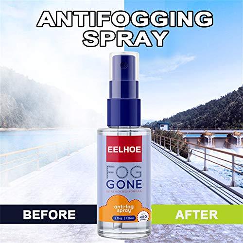 Clacce Spray nettoyant pour Lunettes, Spray Anti-buée Spray Anti-buée Protection Efficace Contre la buée Lunettes pour Lunettes, Masques de Ski, miroirs et fenêtres 120ML (blue)