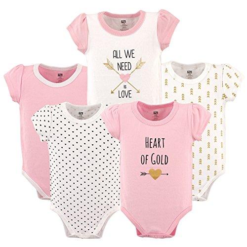 HUDSON BABY Unisex Baby Cotton Bodysuits, Hearts 5 Pack, 0-3 Months (3M) ()