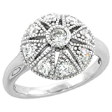 Sterling Silver Vintage Style Cubic Zirconia Engagement Ring Star Cut Out 1/2 inch wide, size 7