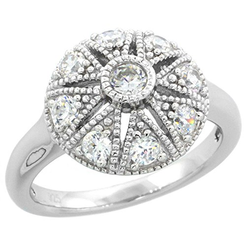 - Sterling Silver Vintage Style Cubic Zirconia Engagement Ring Star Cut Out 1/2 inch wide, size 6