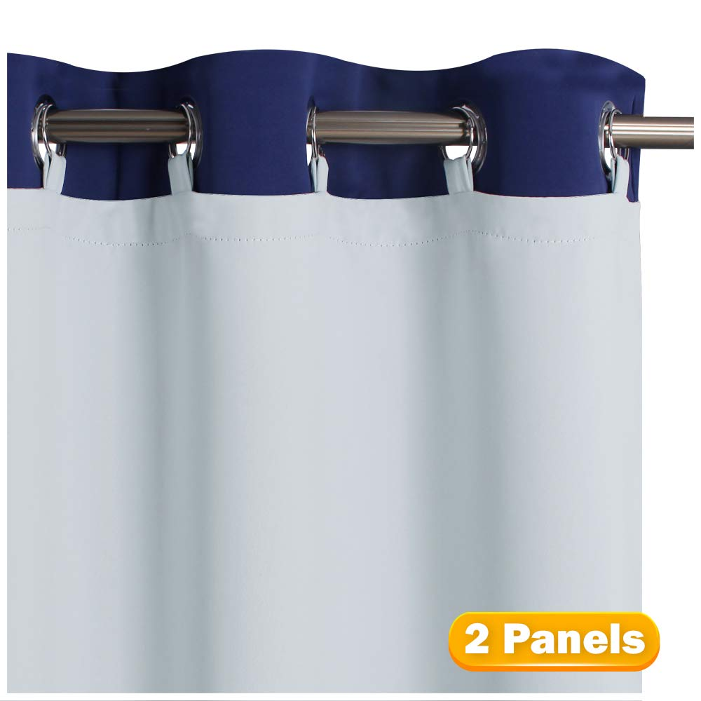 """KGORGE Energy Saving Curtain Liners - Greyish White Sun Light/Noise/Heat Blocking Liner Panels, Blackout Lined for L84 Living Room Drapes with Rings Included.(50"""" Wide by 80"""" Length, Set of 2)"""