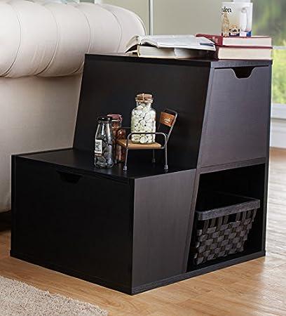 Amazoncom Black End Table Tiered Storage Organize Cabinet Shelf