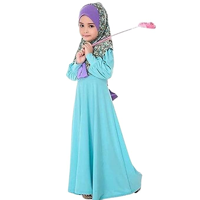 29d42e27a1c6 Image Unavailable. Image not available for. Color: EITC 2-7 Years Islamic Long  Muslim Dress - Blue Abaya with Floral Hijab -