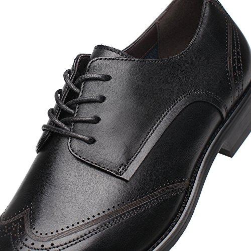 La Milano Abito Da Uomo In Pelle Oxford Wingtip Lace Up Business Casual Comode Scarpe Da Sera Per Uomo Brogue-2-black