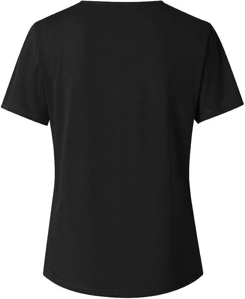 Mikilon Funny Sunflower Skull Print T Shirt for Women Graphic Short Sleeve V Neck Cross Blouse Top