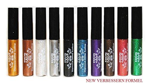 Diamant-Glitter & Shimmer Style 10 Stück Liquid Eyeliner Lidschatten Color Set + Mikrofaser-Beutel-Beutel ond