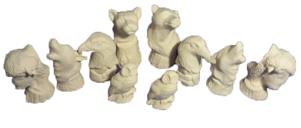 Northamerican 32 piece Wildlife Chess Set 3'' to 5'' Ceramic Bisque, Ready to Paint