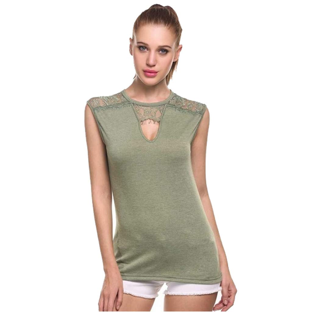 Women Tanks Tops, Summer Keyhole O-Neck Sleeveless Tops Lace Patchwork Hollow Out Vest T Shirts Casual Tank Top (S, Army Green)