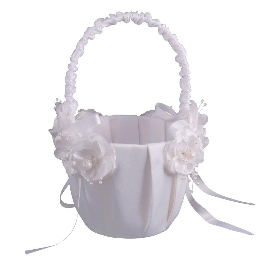 Jili Online Elegant Flower Girl Basket with Flower Pearl Ribbon Decorations Wedding Party Supply