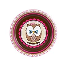 1st Birthday Owl Party Look Whoo's 1 Pink Dessert Plates (8) by BirthdayExpress