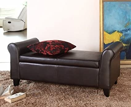 Amazon.com: Easton Leather Bedroom Storage Bench: Kitchen & Dining