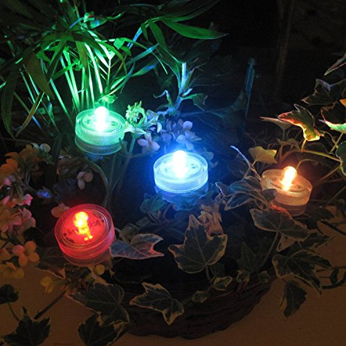 PK Green Underwater LED Lights   Set of 10 Battery Operated Colour Changing Submersible Tea Lights   Waterproof Flameless Candles for Hot Tub, Pool, Bath, Spa, Bowl, Centrepiece, Vase, Aquarium, Fish by PK Green (Image #4)