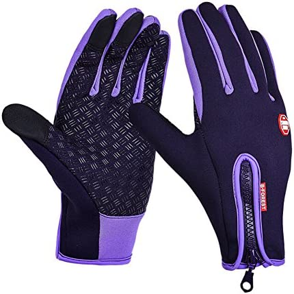 Hilltop Touchscreen Gloves Windproof Waterproof Outdoor Sport Gloves Men Women Gloves in WinterPurple XL