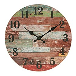 Stonebriar Rustic 12 Inch Round Wooden Wall Clock, Battery Operated, Vintage Farmhouse Wall Decor for the Kitchen, Living Room, Bedroom, or Office