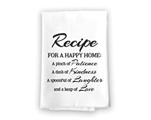 Recipe for a Happy Home Flour Sack Towel, 27 x 27 Inches, 100% Cotton, Highly Absorbent, Multi-Purpose Kitchen Dish Towel