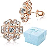 Buyless Fashion Hypoallergenic Surgical Steel Clear Studded 3-D Flower Earring