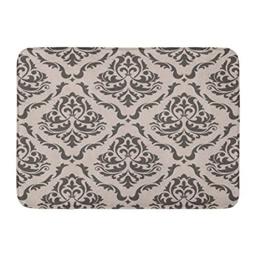 - Emvency Doormats Bath Rugs Outdoor/Indoor Door Mat Gray Damask Floral Pattern for in Victorian Gallery Baroque Royal Scroll Bathroom Decor Rug Bath Mat 16