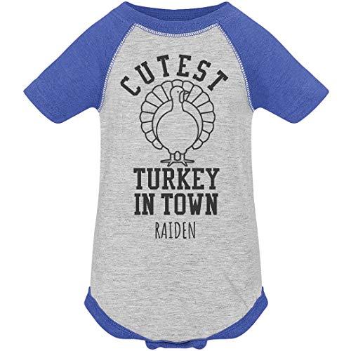 FUNNYSHIRTS.ORG Raiden Cutest Turkey in Town: Infant Vintage Raglan Bodysuit