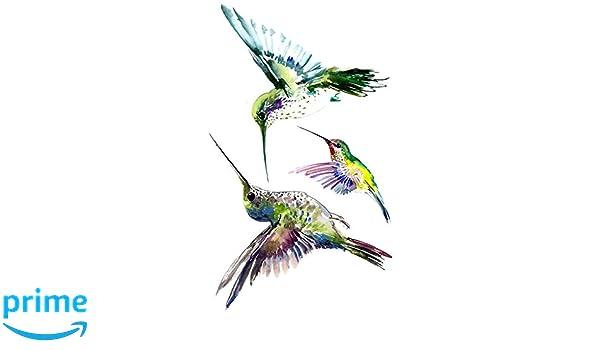 wyuen 5 hojas pájaro colibrí tatuaje falso impermeable tatuajes ...