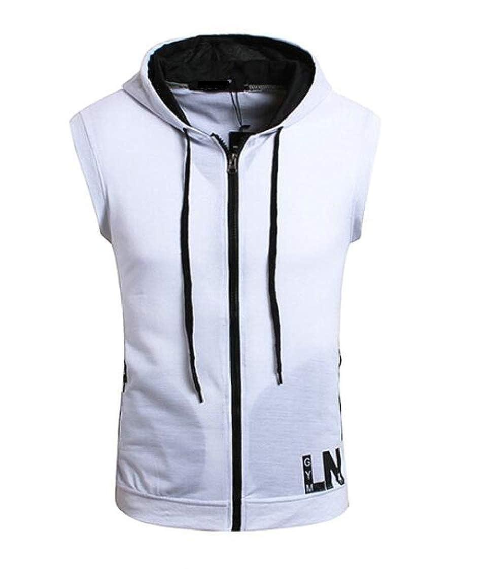 Pandapang Mens Sleeveless Active Hooded Contrast Colors Zip Sweatshirts Jacket