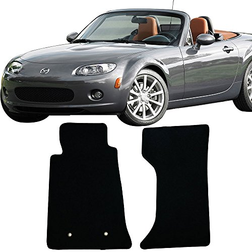 (Floor Mat Fits 2006-2015 Mazda Miata MX-5 | Factory Fitment Floor Mats Carpet Front & Rear Black 2PC Nylon by IKON MOTORSPORTS | 2007 2008 2009 2010 2011 2012 2013 2014)