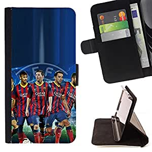 For Samsung Galaxy S6 Barcelona Soccer Team Beautiful Print Wallet Leather Case Cover With Credit Card Slots And Stand Function